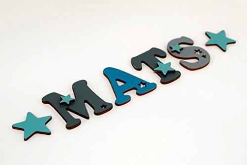 10cm Holzbuchstaben in toller Farbkombination für die Kinderzimmertür oder Kinderzimmerwand. Einzigartige Kinderzimmerdekoration. Handbemaltes Unikat. Als Wunschname individualisierbar / Inklusive 2 Sternmotiven in passenden Farben. Perfekt als Geburtsgeschenk oder Taufgeschenk.