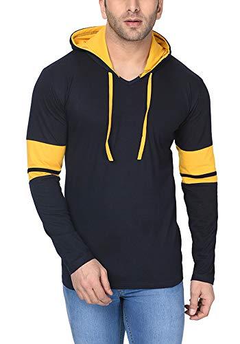 Katso Men's Cotton Hooded Stripe T-Shirt (Navy Blue, Large