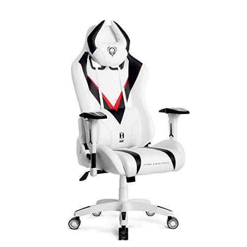 Diablo X-Hunt Gaming Stuhl Schreibtischstuhl Bürostuhl Ergonomisches Design Verstellbare Armlehnen Perforation Kunstleder Wippfunktion (weiß-schwarz, L)