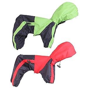 Wilk Chien Vêtements Vêtements Pluie Neige Manteaux imperméable (pour Petits Chiens de Taille Moyenne et Grande Big Adorable Sweat à Capuche Costumes (M, Vert avec Noir) 1pièce