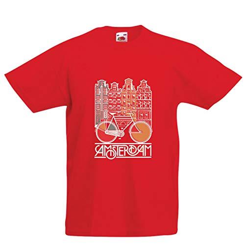 (lepni.me Kinder Jungen/Mädchen T-Shirt Weinlesefahrrad Amsterdam-Stadt, Netherland-Urlaubsreise (14-15 Years Rot Mehrfarben))