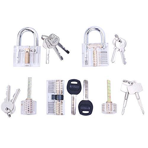 (Lockmall 5-teiliges Übungs-Schloss-Set, Transparentes Training Cutaway Crystal Pin Tumbler Schlüsselschloss, Clear Padlock und AB Kaba Zylinderschloss)