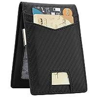 Slim Minimalist Front Pocket Wallet with Money Clip for Men, Genuine Leather RFID Blocking (Black Carbon Fiber)