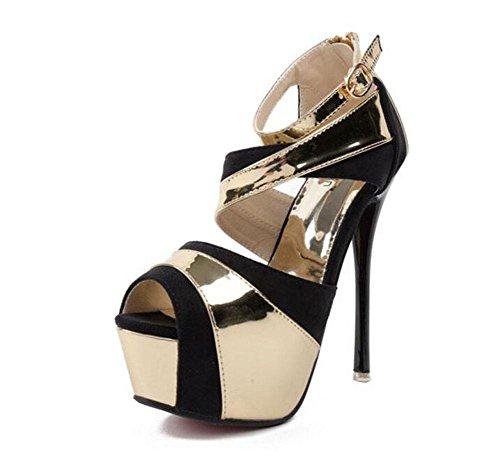 SHINIK Femmes Chaussures de courroie de cheville Chaussures de couleur d'été Lutte Chaussures à talons hauts Sandales Pieds était mince Peep Toe Chaussures creuses Pompes Gold