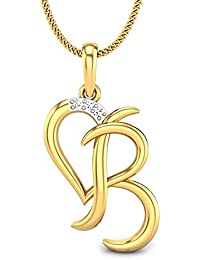Candere By Kalyan Jewellers B Love 14k Yellow Gold and Diamond Pendant