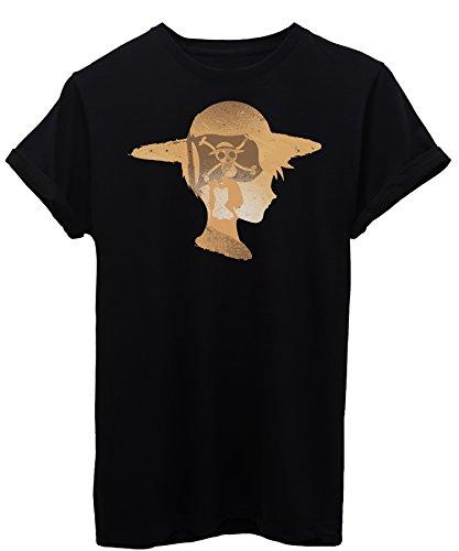 iMage T-Shirt One Piece Strohhut Profil-Cartoon Herren-XL - Schwarz