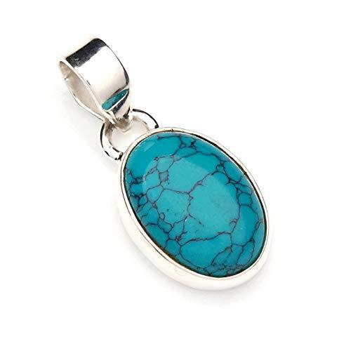 Kettenanhänger Medaillon Silber 925 Sterlingsilber Türkis blau grün Stein 11 mm25 mm (Nr: MAH 81)