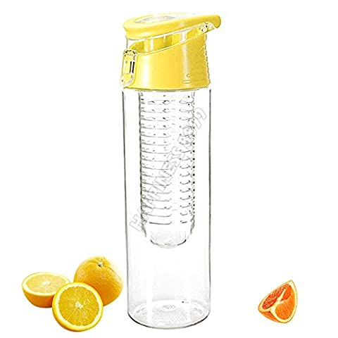 Wocharm 800ml Infuser Water Bottle Flip Lid Fruit Cup for Outdoor Travel Sports Camping Home School-BPA Free (Yellow)