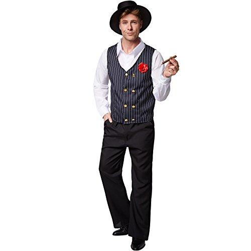 dressforfun Costume da uomo Charleston | Il clou si trova nel gilet: meravigliosi bottoni e fiore finto | Gilet in tessuto gessato (S | No. 301615)