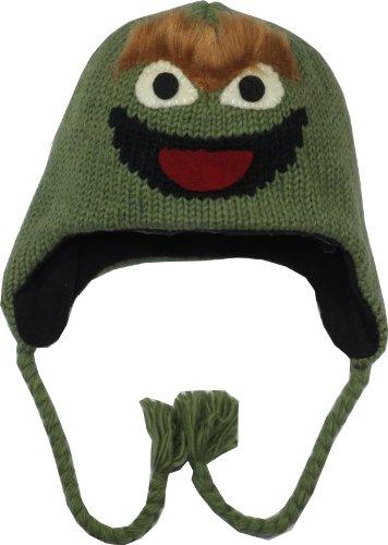 Sesame Street Offizielles Lizenzprodukt 100% Wolle Strickmütze Gr. One Size, Oscar