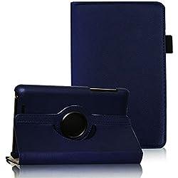 COOVY® Etui pour Google ASUS Google Nexus 7 (1. Generation Model 2012) Coque de Protection Rotation 360° Smart Housse Cover Case Stand Auto Réveil/Sommeil | Bleu foncé