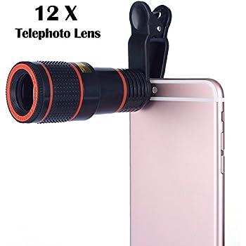 Aizbo® 12 x Zoom Lens Universal Telephoto Monocular Optical External Mobile Phone Telescope Phone Camera Lens Kit for iPhone 6S Plus/6S/6/5S/5C/5, Samsung Galaxy,LG, HTC, Moto, Nexus, Sony and More (Black)