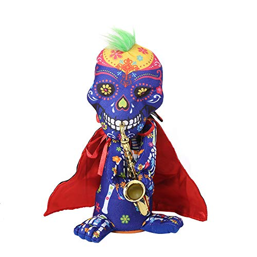 Halloween skull zombie doll with saxophone - can twist, sing and dance - H.eternal  Happy Animated Party Decoration Toy (Not included batteries) (A) - 30cm 11""