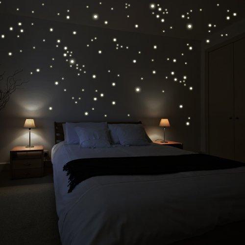 Wandkings 250 Leuchtpunkte für Sternenhimmel, extra starke Leuchtkraft, Wandsticker Leuchtaufkleber, Fluoreszierend und im Dunkeln leuchtend