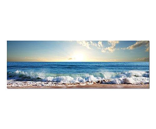 Bilder Wand Bild - Kunstdruck 120x40cm Meer Strand Wellen Sonnenuntergang Wolken