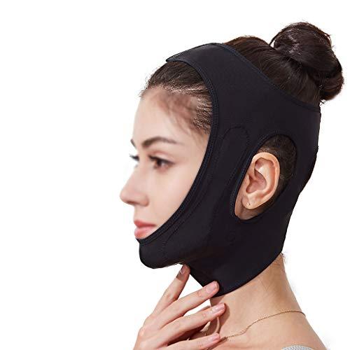 ZPWSNH Face-Lifting-Gesichtsbacken V-förmige Anti-Falten-Maske reduziert die Doppelkinn-Komfortbandage und erzeugt so EIN kleines V-Gesicht Maske Straffen (Color : Black)
