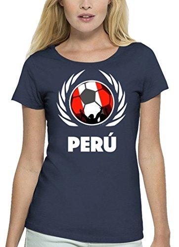 Wappen Fussball WM Premium Fanfest Damen T-Shirt Bio Baumwolle Stanley Stella Fußball Peru Navy