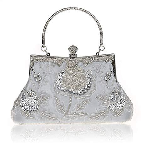 MMYOMI Vintage Floral Perlen Strass Stickerei Kupplung Pailletten Hochzeit Prom Bag Bridal Damen Crossbody Abend Handtasche (Silber)