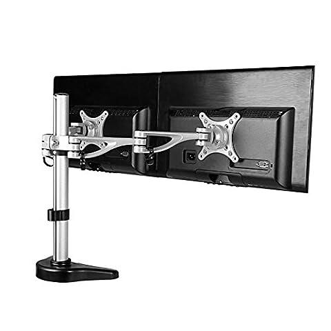 Fleximounts M13 Aluminium Monitorhalter Tischhalterung Standfuß mit 2 Armen für 2 Monitore 10