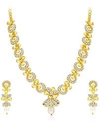 Sukkhi Glittery Gold Plated Wedding Jewellery Austrian Diamond Necklace Set For Women (2559NADP550)