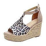 Sandalias Mujer de Tacón Cuñas Peep Toe Verano Zapatillas de Playa Plataforma Zapatos con HebillaRosa Negro Gris Marrón Leopardo 35-43 Leopardo 35