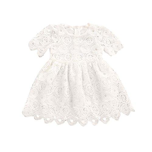 smileq Baby Prinzessin Kleid Mädchen Floral Spitze Kurz Ärmel Ballkleid Rock Formelle Kleidung Outfits, weiß, 12 m