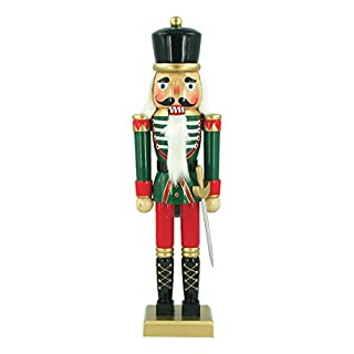 The Christmas Workshop 81560 50cm Tall Wooden Soldier Nutcracker on Stand, Multi-Colour