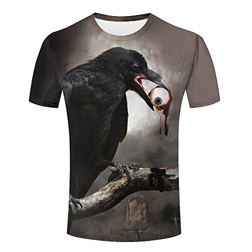 Men 3D T-Shirt Halloween Crow Eyeball Printed Jing Unisex Funny Patterned