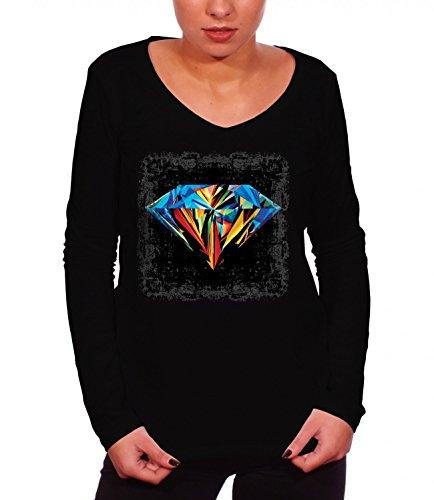 three-monkeys-diamond-abstract-art-womens-long-sleeve-t-shirt-noir-medium
