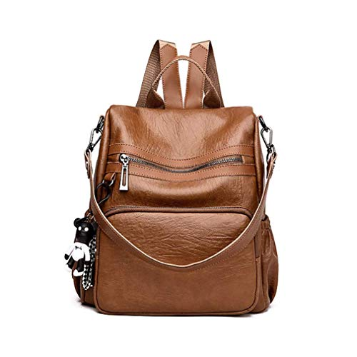 (YX Frau Rucksack Damen PU Leder Rucksack Multifunktional Daypacks Groß Backpack Einfarbig Schoolbag Wasserdicht Verschleißfest FrauenUltraleicht Schulrucksack (Braun))