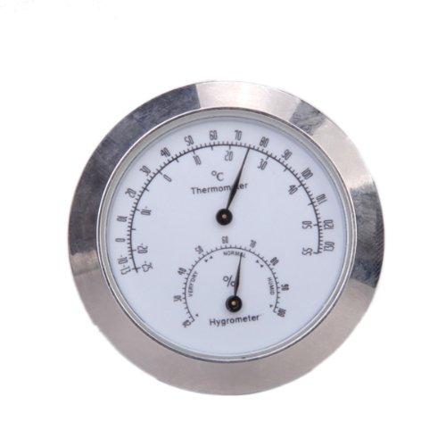 Preisvergleich Produktbild Silber Runde Thermometer und Hygrometer für Gitarre Violine