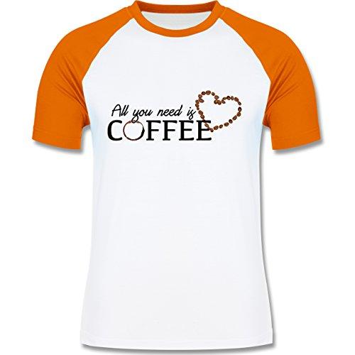 Statement Shirts - All you need is coffee - zweifarbiges Baseballshirt für Männer Weiß/Orange
