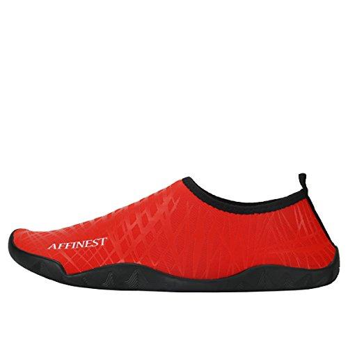 AFFINEST Uomo Donna Passione fuoco flessibile Acqua Sport Pelle Scarpe Aqua calzini unisex di nuoto, corsa, snorkeling, surf, esercizi di yoga Rosso