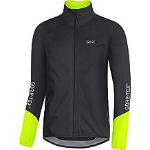 GORE Wear Chaqueta impermeable de ciclismo para hombre, L, Negro/Amarillo neón,