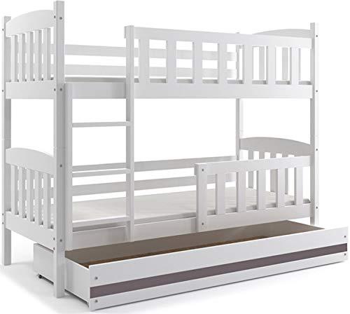 Interbeds Etagenbett Quba 190x80 mit Matratzen, Lattenroste und Schublade, Farbe: WEIβ, GRAU, Erle und Kiefer (weiβ + grau)
