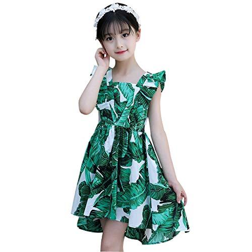 MRULIC Mädchen Kleid Bohemian Style Kleider Mädchen Ärmelloses Blumenkleid Für Jugendliche 8 10 12 Große Kinder Mädchen Kleidung(Grün,120-130CM)