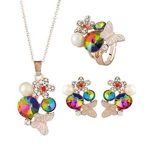 Da.Wa 1 Set Satellite Crystal Butterfly Perlenkette Ohrringe Ring 3 Teiliges Schmuckset Damen Zubehör