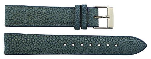 Blau Galuchatleder Uhrenarmband, Dornschließe, 18mm Ersatzband _ B18019