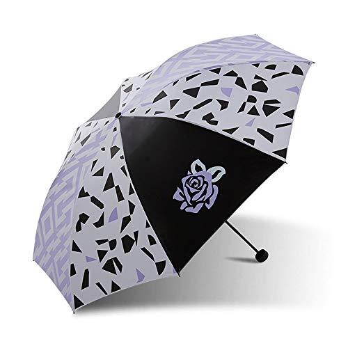 Crystallly Regenschirm Falten Abdeckung Die Sonne Anti Uv Regen Wetter Handbuch Einfacher Stil Männer Und Frauen Regenschirm (Farbe 1 Wasserdicht Regenschirme (Color : 1, Size : One Size)
