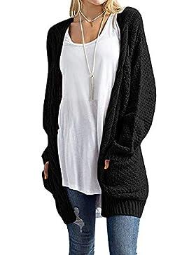 Kasen Mujer Cárdigan Color Sólido Prendas De Punto Manga Larga Blusa Suéter con Bolsillo