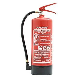 ANDRIS® Feuerlöscher 6kg ABC Pulverlöscher EN3 mit Manometer, Sicherheitsventil + Standfuß, 10 LE