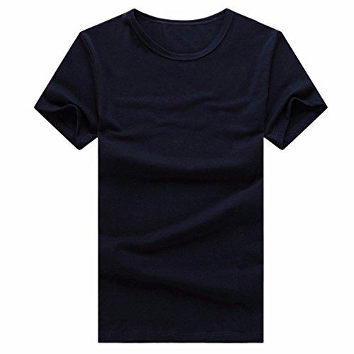 QIYUN.Z Männer Unisex Normallack T-Shirt Kurzarm Baumwolle Sommerhemden Team Bluse Navy Blau