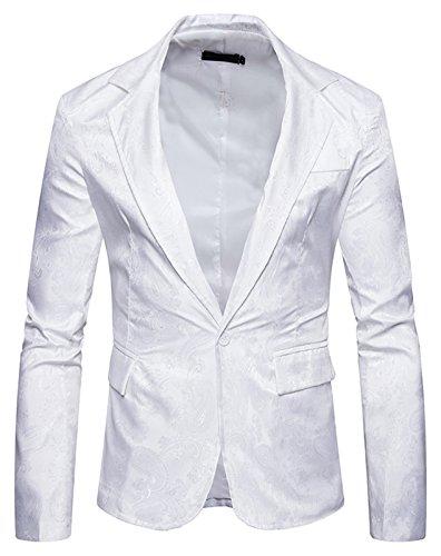 Whatlees Herren Jacquard Blazer mit glitzerndem paisley muster B935-White-S (Cognac Herren Justin)