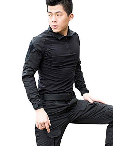 YuanDian Herren Frösche Schlank Passen Tarnung Airsoft Taktisch Militär T-Shirt Militärhose Sets Langarm Camo Armee Top + BW Feldhose Outdoor Camping Uniform Schwarz Shirt L (Doppelseitiges Schwarzes T-shirt)