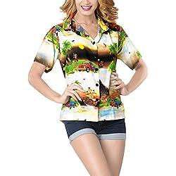 LA LEELA Fiesta en la Playa Aloha Hawaii Sueltos Camisa Camisa de arbol de Navidad Jingle Bells Camisa Negro_X205 M - ES Tamaño :- 44-46