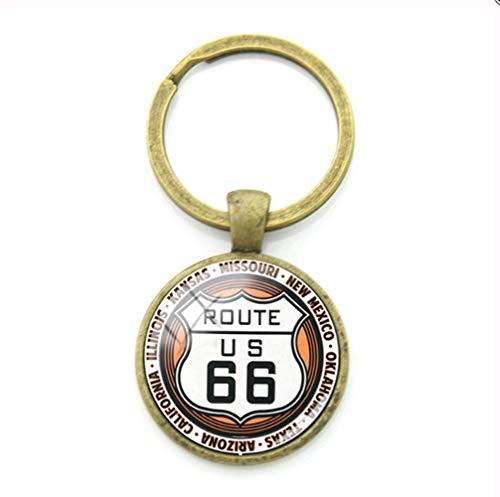 VAWAA Route 66 Route Zeichen Schlüsselanhänger Mode Trendige Schlüsselanhänger Schlüsselanhänger Metall Anhänger Für Auto Schlüssel Beste Freundin Schmuck -