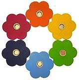 Hess Holzspielzeug 15649 - Geburtstagsblume aus Holz, 6er Set in knalligen Farben, für 6 Kerzen