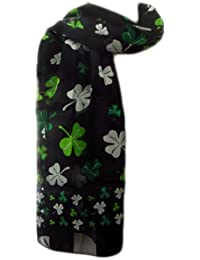 New Company Womens St Patrick Day Clovers Shamrocks Scarf - Black - One Size