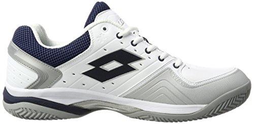 Lotto Sport Raptor Lth Cly, Chaussures de Tennis Homme Blanc (Wht/blu Avi)