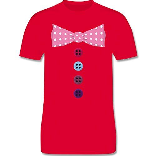 (Karneval & Fasching - Clown Kostüm rosa Fliege - L - Rot - L190 - Herren T-Shirt Rundhals)